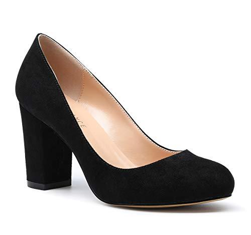 SUNETEDANCE Women's Block Heel Pumps Round Toe Heels Sexy Elegant Slip-on Comfort Classic High Heels Office Business Shoes Suede Black Pump 13 M US]()