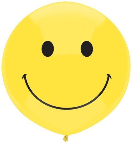 17 Inch Yellow Happy Face Smile Face Latex Balloons (2 sided print) 50 count ()