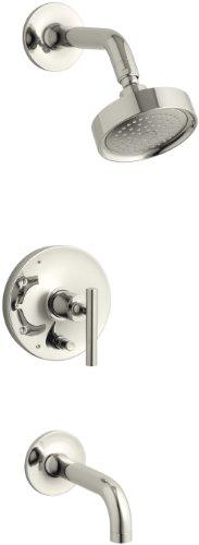 KOHLER K-T14421-4-SN Purist Rite-Temp Pressure-Balancing Bath and Shower Faucet Trim with Push-Button Diverter, 7-3/4
