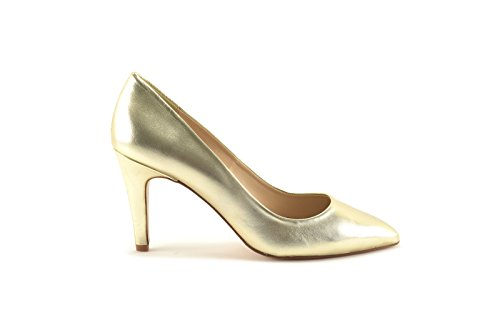 ConBuenPie by ENYA - New Collection - Salon de Piel Stiletto de Mujer Color Plata y Oro Oro