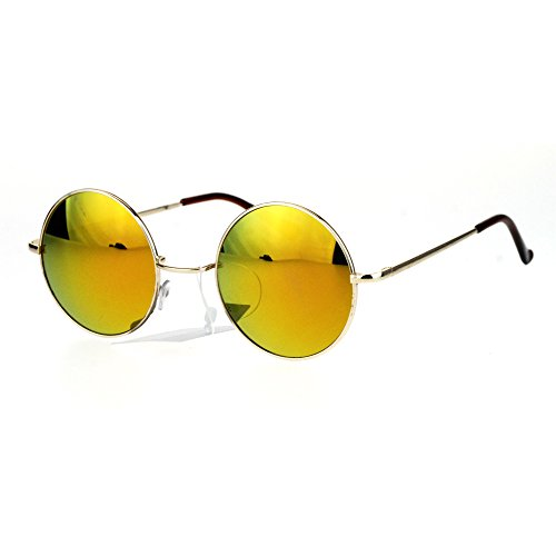 Reflective Color Mirrored Hippie Groove Round Circle Lens Retro Sunglasses Gold - Orange Sunglasses Reflective