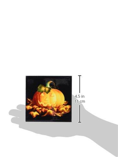 3dRose cst/_11657/_4 Glowing JackoLantern and Autumn leaves on Halloween Night on Black Background Ceramic Tile Coasters Set of 8