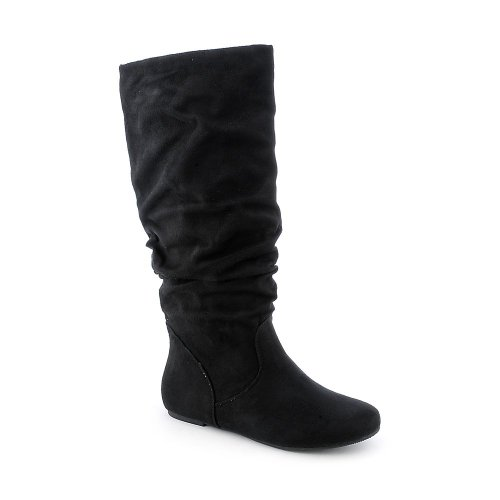 Soda Womens Zulu-S Boot - Black Suede Size 6.5 (Womens Boots Black)