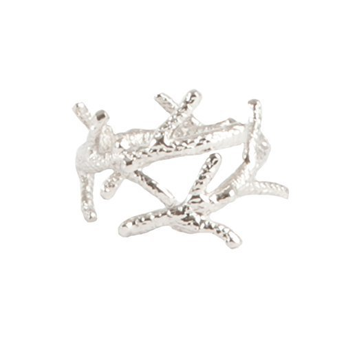 SARO LIFESTYLE 4-Piece Coral Branch Design Napkin Ring, Silver by SARO LIFESTYLE Coral Branch Napkin Rings