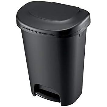 Rubbermaid 1843028 Step-On Wastebasket, 13-Gallon, Black