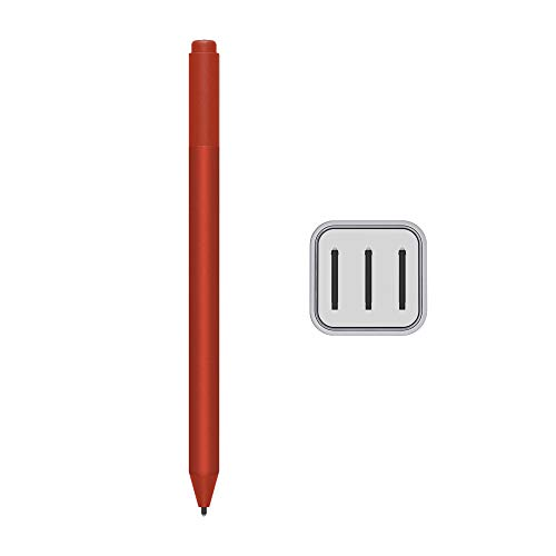 2020 Microsoft Surface Pen for Surface Pro 7 Pro 6 Surface Laptop 3 Surface Book 2 Laptop 2 Surface Go Studio 2 4096 Pressure Points Rubber Eraser Bluetooth Poppy Red w/3 Extra Surface Pen Tips HB