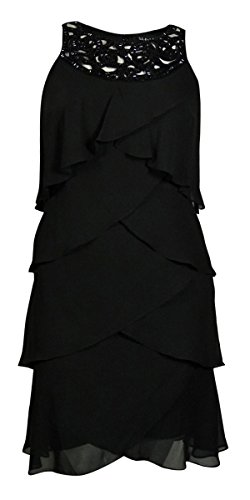 S.L. Fashions Women's Beaded Cut Out Tier Dress (10, Black)