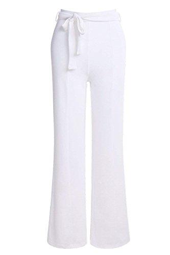 Moda Fit Style Eleganti Bianca Party Ragazze Lunghe Pantaloni Pantaloni Donna Larghi Slim Monocromo High Palazzo Cintura Tuta Donna Festa Pantaloni Waist Pantalone Inclusa 6w7BxZEqq