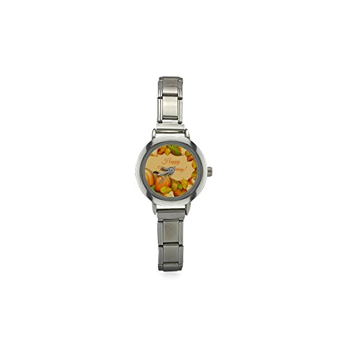 (Thanksgiving Day Gifts Maple Leaf Pumpkin Women's Italian Charm Watch )