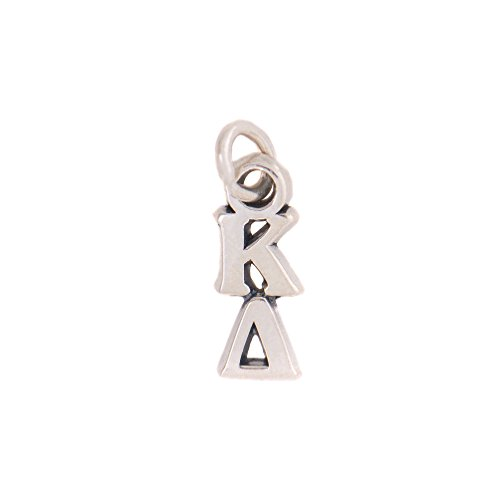 Kappa Delta Sorority Letter Sterling Silver or 14k Gold Lavalier Necklace with Chain KD (Silver)