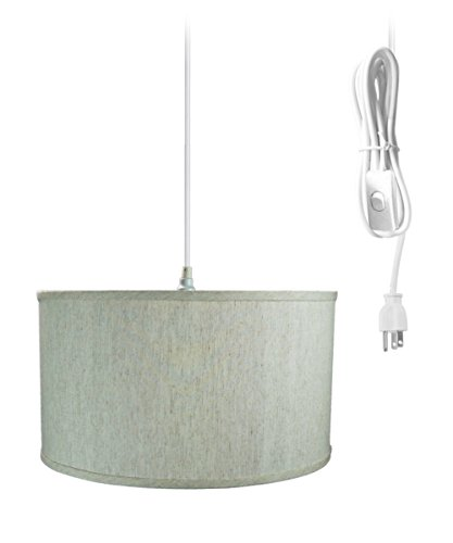 Plug-In Pendant Light By Home Concept - Hanging Swag Lamp Textured Oatmeal Shade - Perfect for apartments, dorms, no wiring needed (Textured Oatmeal, White One-light)