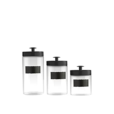 Style Setter Chalkboard Glass Canisters - Set of 3 - Black