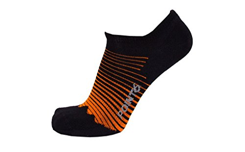 Point6 Active Life Peak, Ultra Light No-Show sock - X Large, Black/Orange with a Helicase sock ring