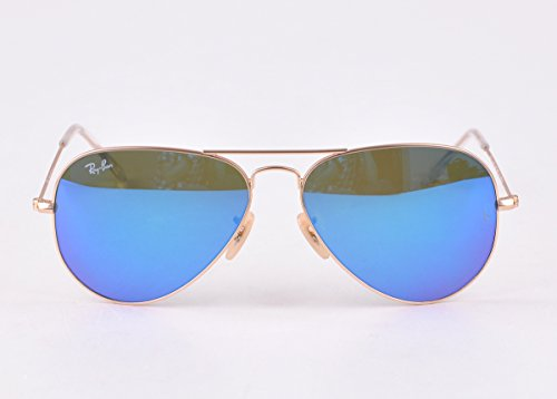 Ray Ban Aviator 3025 112/17 Light Blue Mirror Gold - With Ban Ray Number Sunglasses