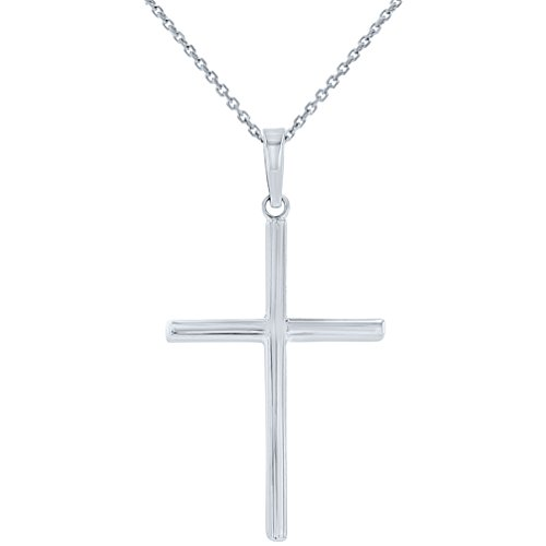 High Polished 14K White Gold Plain Slender Cross Pendant with Chain Necklace, 20'' by JewelryAmerica