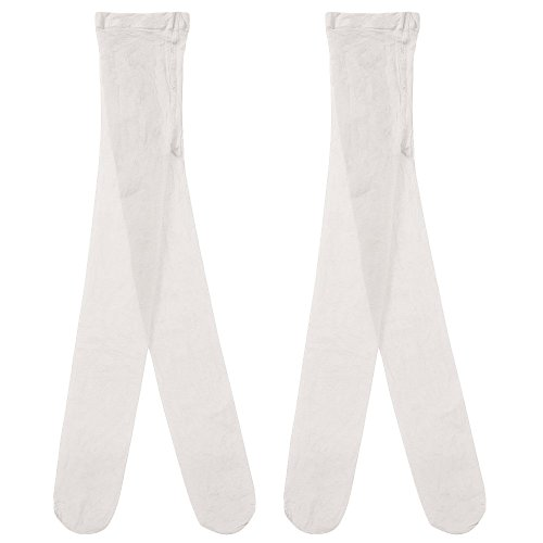 Country Kids Little Girls' Sheer Dressy Footed Pantyhose Tights, Pack of 2, Fits 3-5 years, White