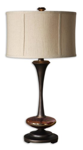 Distressed Copper Single Light Fluted Wood And Glass Table Lamp From The Lahela (Distressed Copper Table Lamp)
