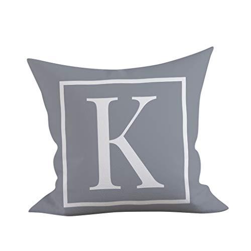 Thomasville Sheet Fitted (Weiliru Cotton Pillowcase for Hair and Skin Pillowcase with Hidden Zipper (Grey),Letter Pattern,45cmx45cm)