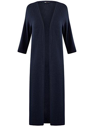 7900n Femme Fermeture Cardigan oodji Bleu sans Ultra Long c47wS1qaU