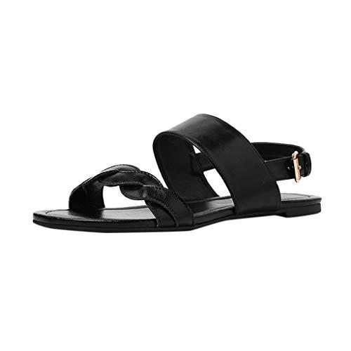 (AHAYAKU Retro Womens Fashion Flat Straps Buckle Open Toe Beach Casual Shoe Roman Sandals Black)