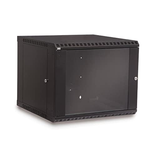 9U LINIER Fixed Wall Mount Cabinet - Glass Door (Enclosed Av Rack)
