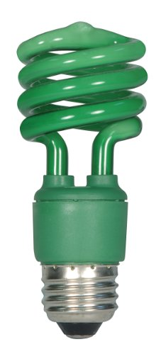 (Satco S7272 13 Watt (60 Watt) Mini Spiral Color CFL Light Bulb, Green)