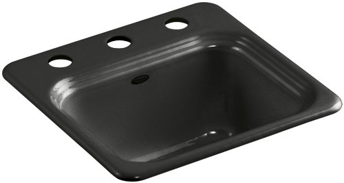 Kohler K-6579-3-FP Northland Self-Rimming Entertainment Sink with Three-Hole Faucet Drilling, Caviar