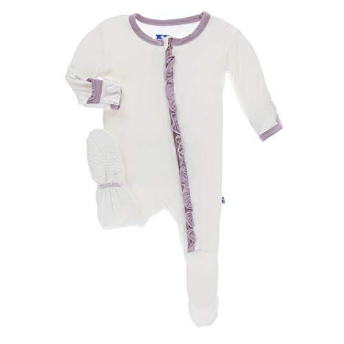 Kickee Pants Little Girls Solid Classic Ruffle Footie with Zipper - Natural with Sweet Pea, 0-3 Months