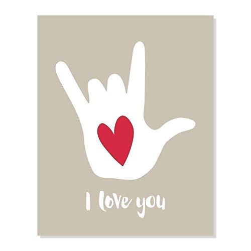 I Love You Sign Language Hand Symbol Art Print with Red Heart (Taupe Neutral Color, 8x10)