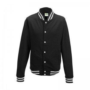 Satin Baseball Jacket (Awdis Mens College Jacket (L) (Jet Black))