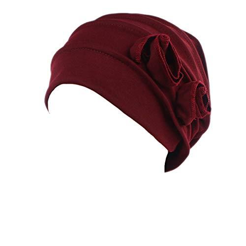 Ever Fairy Chemo Cancer Head Scarf Hat Cap Ethnic Cloth Print Turban Headwear Women Stretch Flower Muslim Headscarf (Red)