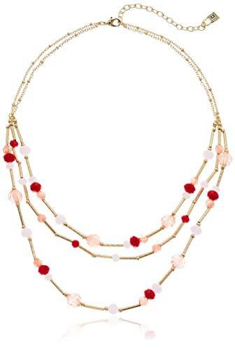- Chaps Women's Gold/Multi Multirow Frontal Necklace, Multi