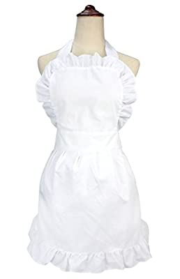 LilMents Women's Ruffle Outline Retro Apron Kitchen Cake Baking Cooking Cleaning Maid Costume