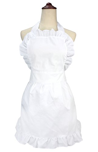LilMents Women's Ruffle Outline Retro Apron Kitchen Cake Baking Cooking Cleaning Maid Costume (White)