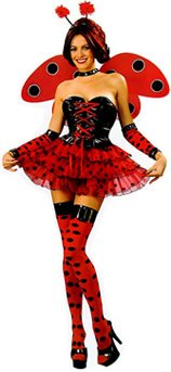 (Bristol Novelty Red/Black Sexy Lady Bug Adult Costume - Women's - Medium 12-14)