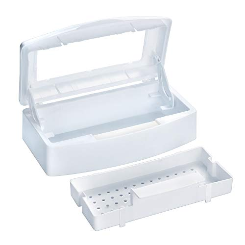 Professional Plastic Nail Art Tool Manicure Tool Storage Box Organizer Nail Salon Equipment Tweezer Cleaner Tray (Clear Lid)