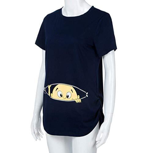 Mode Courtes Shirt Haut Modle Marine Tee Basic Casual Col Vetement Et Cartoon Maternit Tshirts Impression Elgante Shirt Rond Femme Bouffant fashion HX Allaitement Plier Enceinte Manches qOwEII