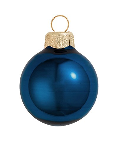 (28ct Shiny Midnight Blue Glass Ball Christmas Ornaments 2