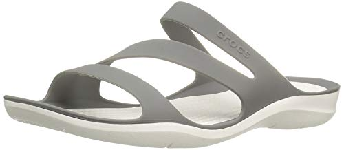 Crocs Women's Swiftwater Sandal, Smoke/White, 5 M US