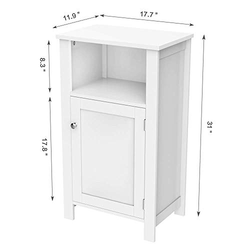 Topeakmart White Nightstand Height Adjustbale Shelf Single Door Bed Side Storage Cabinet with One Open Storage Shlef Wooden