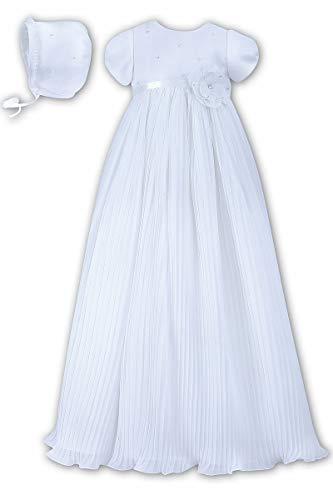 Dresses Sarah Louise Christening - Sarah Louise White Pleated Organza Christening Robe & Bonnet (White, 03 Months)