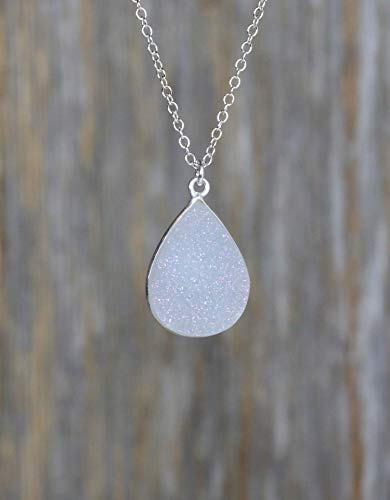 Large White Druzy Pendant Necklace Sterling Silver-18