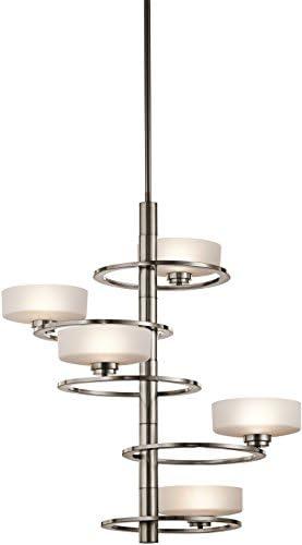 Kichler 43366CLP, Aleeka Large Glass Chandelier Lighting, 5 Light Halogen, Classic Pewter