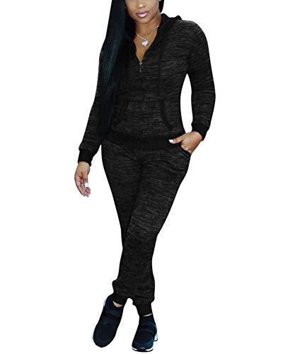 (Women's Tracksuit Set Pants 2 Piece Long Sleeve Jogging Zipper Hoodie Sweatsuit Black)