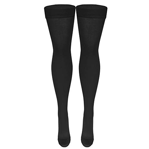 Nuvein Medical Compression Stockings, 20-30 mmHg Support, Women & Men Thigh Length Hose, Closed Toe, Black, X-Large