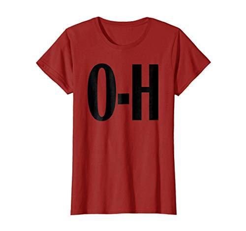 (Womens O-H Couples Matching Ohio Sports Football Funny Fun T-shirt Large)