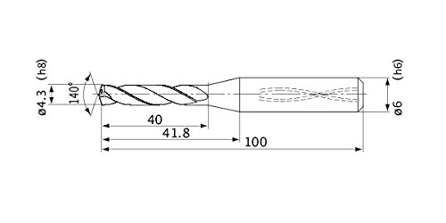 Mitsubishi Materials MVS0430X05S060 MVS Series Solid Carbide Drill Internal Coolant 4.3 mm Cutting Dia 6 mm Shank Dia. 5 mm Hole Depth 0.8 mm Point Length