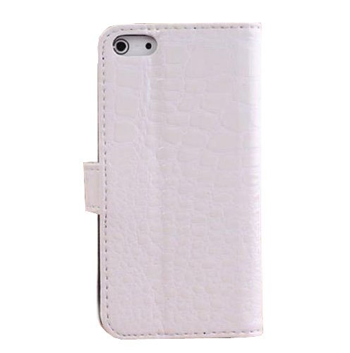 eFuture(TM) Textured Crocodile Synthetic Leather Pattern Magnetic Flip Wallet Case Cover With Card Slots For Apple iPhone 5 5S-White +eFuture's nice Keyring
