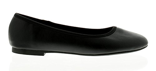 New Ladies/Womens Black Pu Ballerinas Shoes - Black - UK Sizes 3-10 2AtYmDK