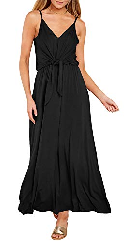ETCYY Women's Casual Summer V Neck Spaghetti Strap Tie Knot Front Beach Maxi Dress Black